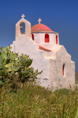 Church at Ano Mera Kastro, Mykonos, Greece.