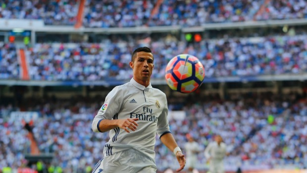 Cristiano Ronaldo in action for Real Madrid at the Santiago Bernabeu stadium.