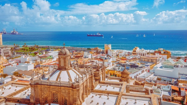 Aerial view over the old town and waterfront of Las Palmas, Spain.
