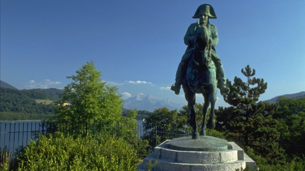 Napoleon Bonaparte stands guard over Laffrey, nestled in an alpine valley.