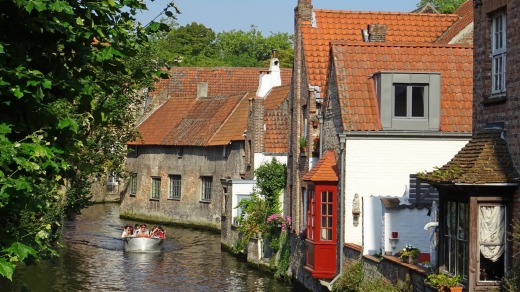 Canal houses from Mariastraat in Bruges, Belgium.