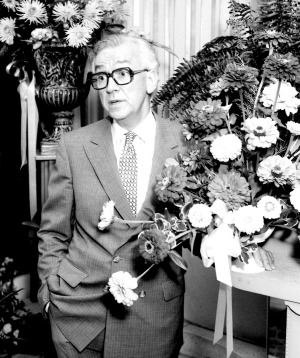 The Wentworth Hotel florist, Mr George Hurst, pictured in his shop on 13 February 1985.