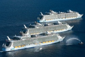 The world's three largest cruise ships meet for the first time.