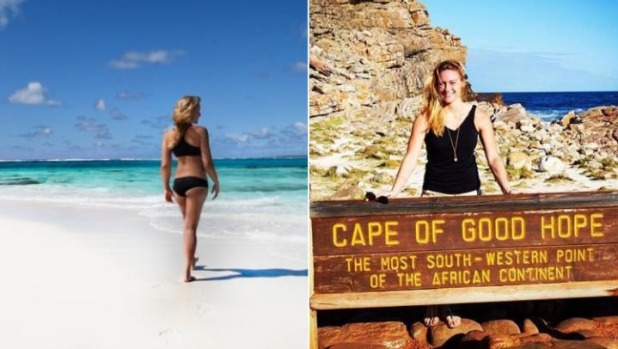 Cassie De Pecol on the beach in Tonga, and at the Cape of Good Hope, South Africa.