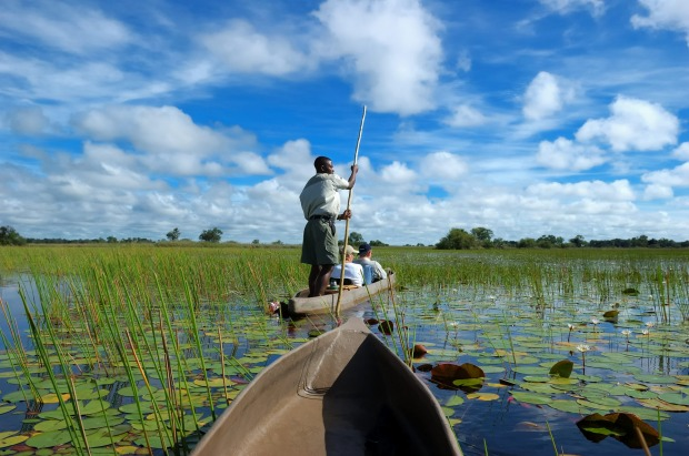 Mokoro canoe tour on the Delta in Botswana.