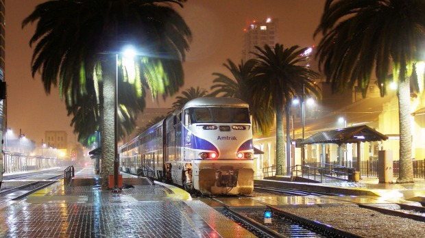 The Pacific Surfliner pulls into an Amtrak station in San Diego, California.