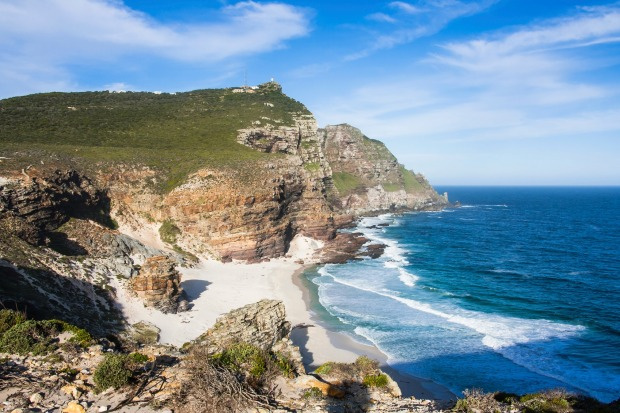 View of Cape Point and Diaz Beach from top of the cliffs at the Cape of Good Hope in South Africa.
