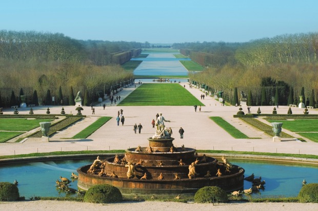 The Versailles Park on a sunny winter day, Paris.