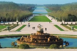 Versailles, France - February 2, 2012: The Versailles Park on a sunny winter day. The Versailles is a suburb of Paris, ...