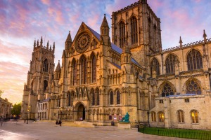 The York Minster at sunset in the city of York, Yorkshire, England, UK.