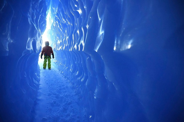 Exploring the nearby ice caves.