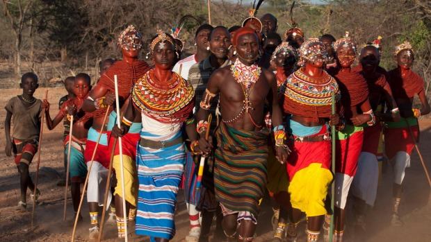 Tradition remains strong in Kenya where Samburu Morani (warriors) and girls dance at a wedding ceremony.