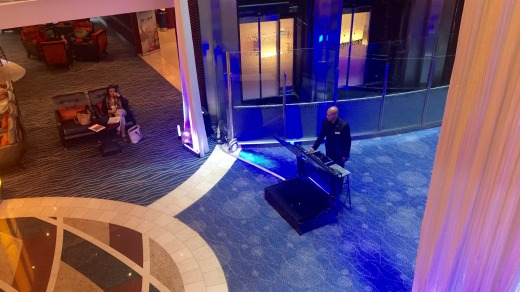 Miami vibes: The lobby DJ is there to entertain on the Celebrity Solstice.