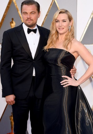 Actor Leonardo DiCaprio and Kate Winslet at the Academy Awards this year.