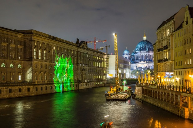 Canal on Spree and Berliner Dom during the Festival of Lights.