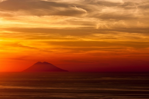 A view of Mount Stromboli from mainland Italy.