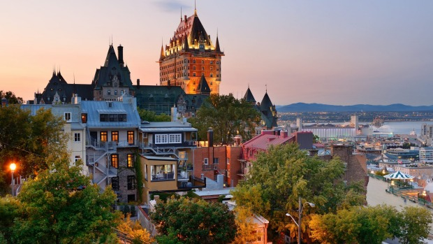 Quebec City skyline with Chateau Frontenac.