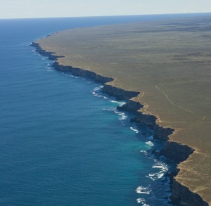 Aerial view of the southern edge of the Nullarbor Plain.