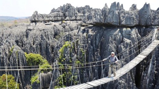 Rope ladder crossing in the Tsingy