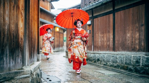 Maiko women in Kyoto, Japan.