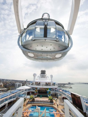 The North Star viewing capsule rises more than 90 metres above the ocean.
