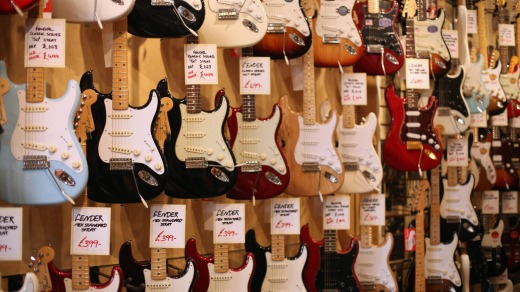 Guitars in a shop on Denmark Street.