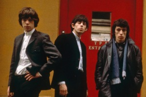 The Rolling Stones outside the Tin Pan Alley Club in London, 1963. From left to right: Mick Jagger, Keith Richards, Bill ...