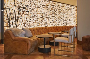 The bar at Hotel Zetta is decorated with the Alcatraz wall, a collage lightbox of mugshots of prisoners who were on the ...