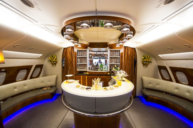 Emirates' onboard lounge.