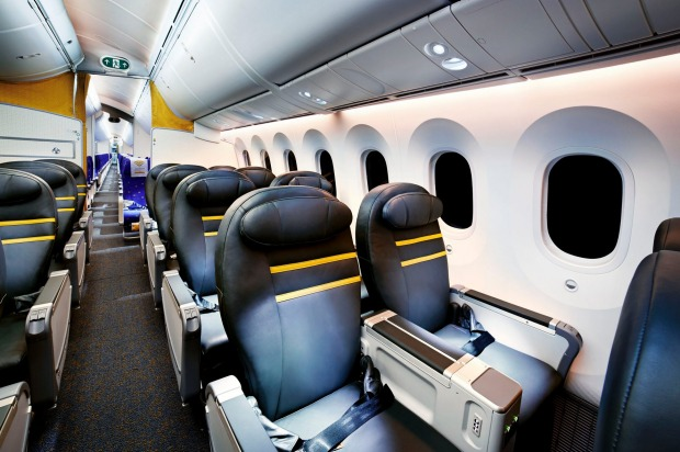 Inside Scoot business class.