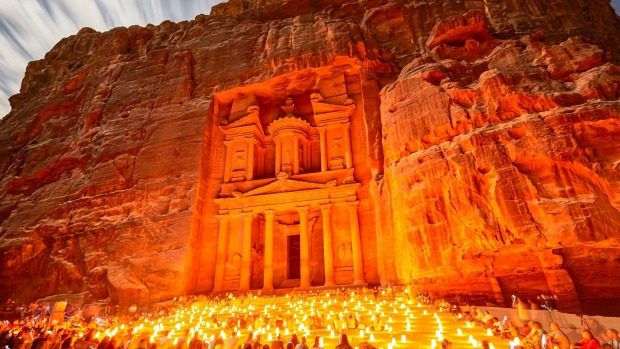 The Treasury lit up at night at Petra.