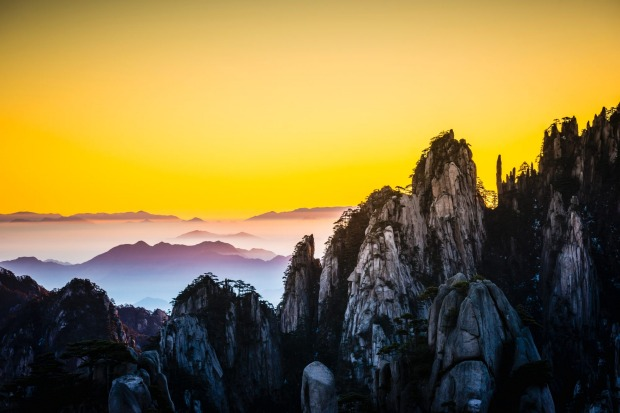 Gorgeous winter sunrise in Huangshan mountains, Anhui Province, China.