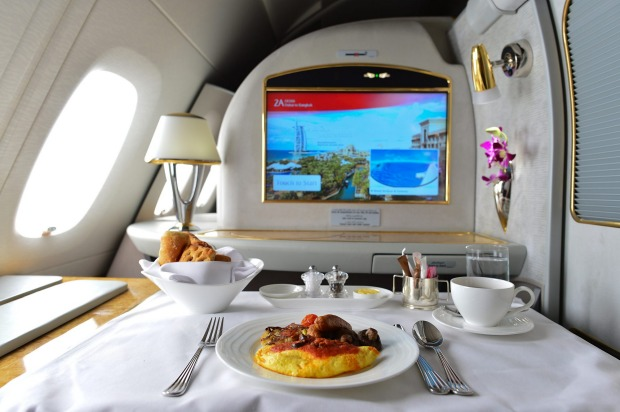 Emirates Airbus A380 first class private suite interior.