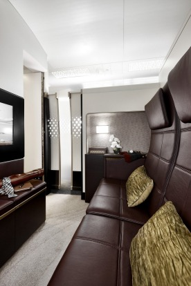 The reception area, on 'The Residence by Etihad', a new First Class service offered by Etihad Airways.