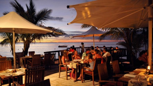 Dinner with a view at Castaway Island, Fiji.