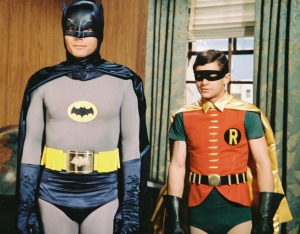 Adam West and Burt Ward in costume as the 'Dynamic Duo',