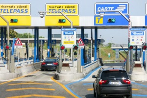 Cars at Autostrade Toll in Italy.