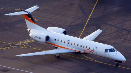 Embraer ERJ135KLs have 37 seats in a 1-2 configuration.
