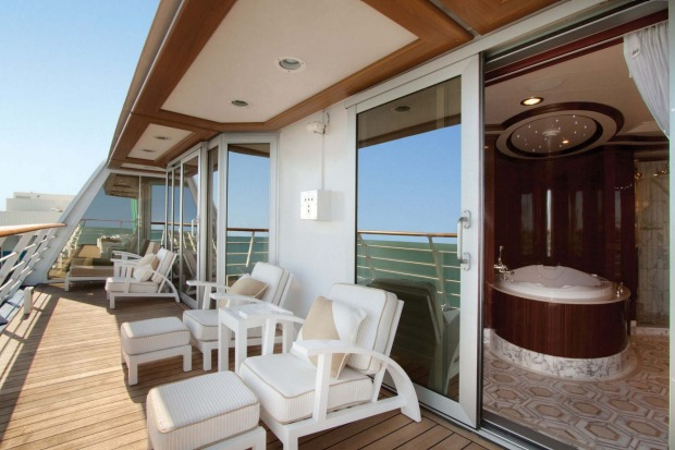Oceania Cruises  O-Class Owners Suite balcony and private spa bath.