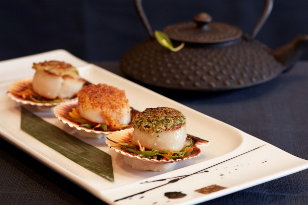 Bay scallop trilogy from the Red Ginger Asian Fusion restaurant.
