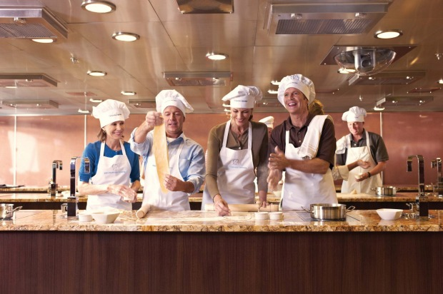 Oceania Cruises culinary centre cooking class.