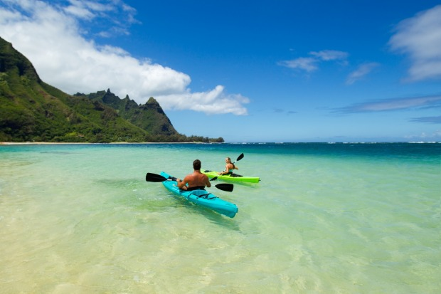Kauai, Hawaii photos: Paddling the crystal blue waters towards Bali Hai.
