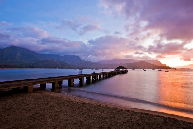 Sunset at Hanalei Pier.