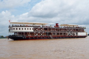 The elegant RV Mekong Pandaw has timber-lined, airconditioned cabins that provide relief from the hot Cambodian sun.