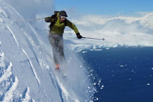 Skiing in Antarctica with Chimu.