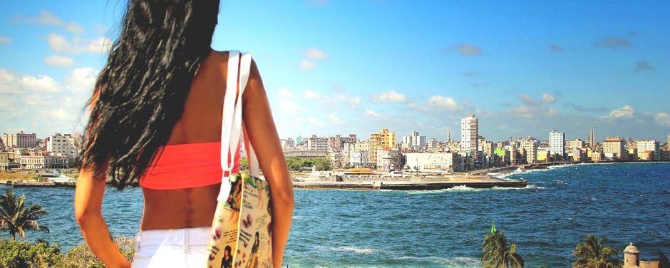 View of Havana and Malecon from the other side of the channel.