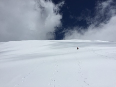 The final ascent on Mt Kosciusko in October 2016.  The unexpected snow cover was a fabulous close to a touring holiday ...