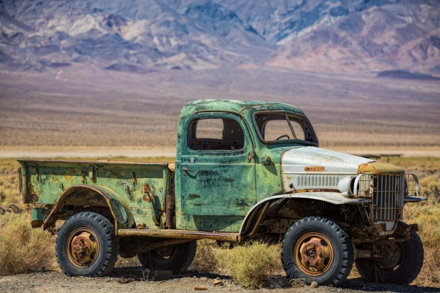 Ballarat, near Death Valley California. This truck was apparently owned by infamous murderer Charles Manson who was ...