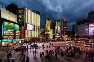 Ximen Station, Ximending, Taipei, October 2016;Taken from level 2 of the Red House just after sunset. Love this area of ...