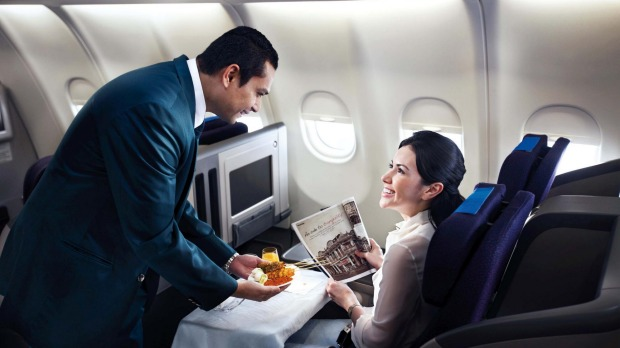 Malaysian Airlines Business Class cabin, Airbus A330-300.